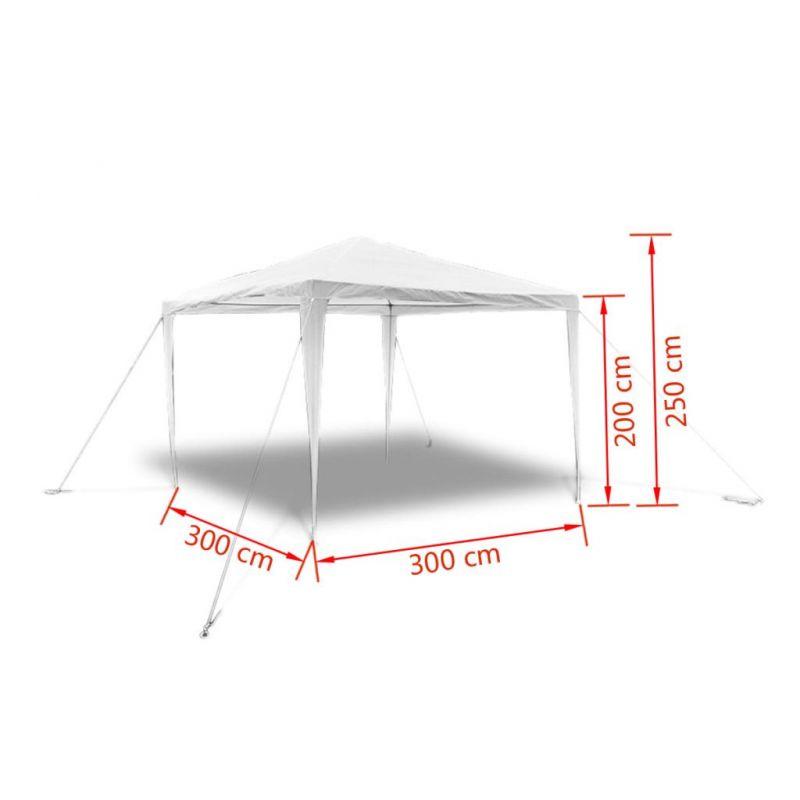 vidaXL-Tonnelle-Pavillon-de-jardin-blanc-3x3m-90136-NEUF miniature 10