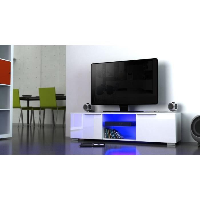 studio meuble tv avec clairage led 104 cm blanc haute brillance neuf eur. Black Bedroom Furniture Sets. Home Design Ideas
