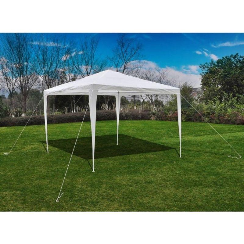 vidaXL-Tonnelle-Pavillon-de-jardin-blanc-3x3m-90136-NEUF miniature 4
