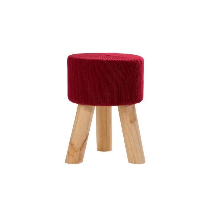 WENDY Lot de 4 poufs Tabourets - Pin massif - Assise en tissu Rouge ...