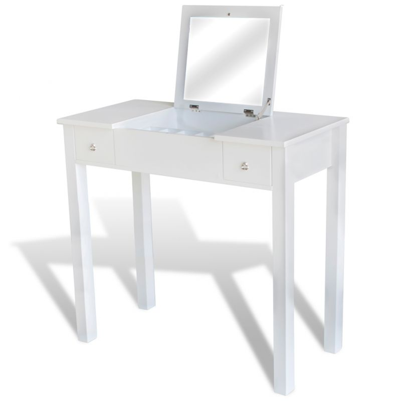 coiffeuse blanche avec tabouret et 1 miroir basculant neuf ebay. Black Bedroom Furniture Sets. Home Design Ideas